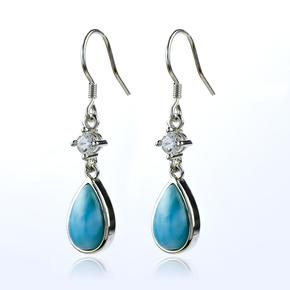 Genuine Larimar Stone Silver Drop Earrings