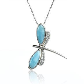 Genuine Larimar Stone Silver Dragonfly Pendant