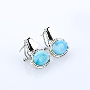 Genuine Larimar Stone Silver Omega Closure Earrings