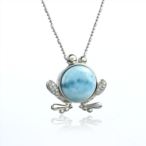 Genuine Larimar Stone Frog Silver Pendant