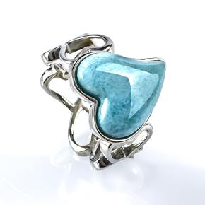 Larimar Genuine Cabuchon Stone Heart Silver Ring