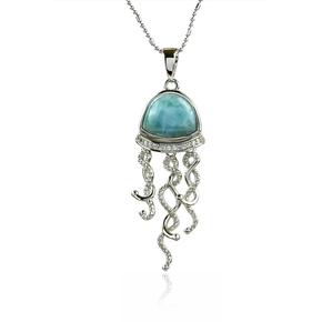 Genuine Larimar Stone Jellyfish Silver Pendant