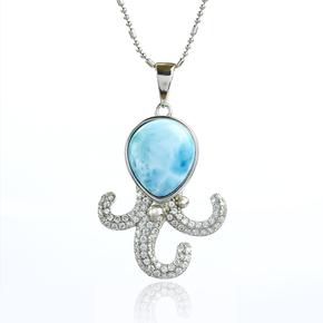 Genuine Larimar Stone Octopus Silver Pendant