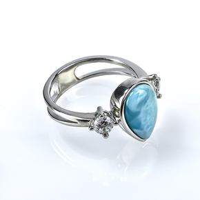 Larimar Stone Silver Ring