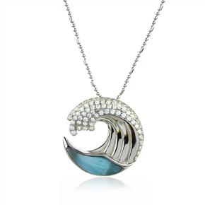 Genuine Larimar Stone Sea Wave Silver Pendant