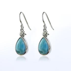 Genuine Larimar Blue Stone Silver Earrings