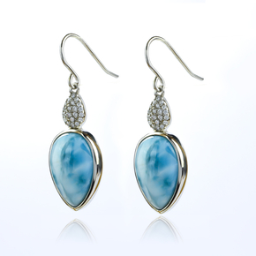 Genuine Larimar Stone Silver Earrings