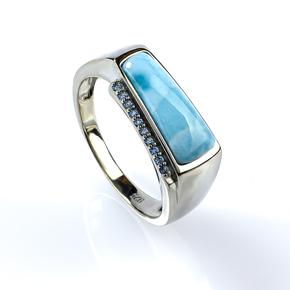 Genuine Larimar Stone Stone Silver Ring