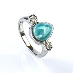 Larimar Stone Cabuchon Stone Silver Ring