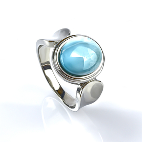 Genuine Larimar Stone Cabuchon Stone Silver Ring