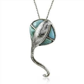 Genuine Larimar Stone Stingray Silver Pendant