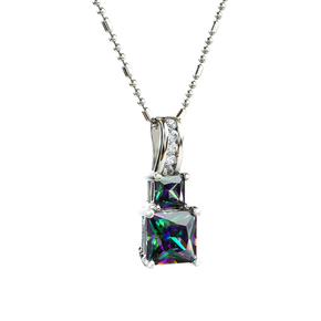 Princess Cut Rainbow Mystic Topaz Sterling Silver Pendant
