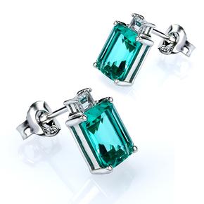 Emerald Cut Paraiba Silver Stud Earrings