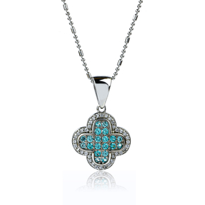 Sterling Silver Cross With Paraiba Stone