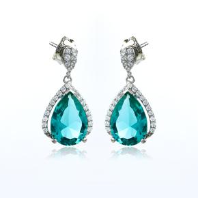 Sterling Silver Paraiba Big Pear Cut Earrings