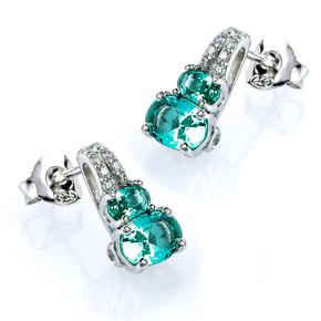 Two Oval Cut Paraiba Silver Earrings