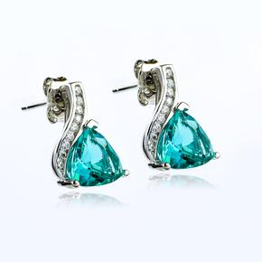 Trillion Cut Paraiba Sterling Silver Earrings