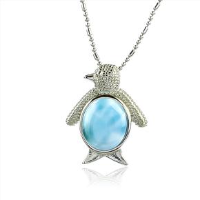 Genuine Larimar Stone Penguin Silver Pendant
