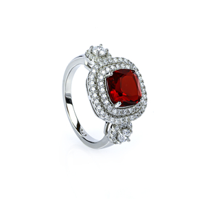Sterling Silver Cushion Cut Red Ruby Ring