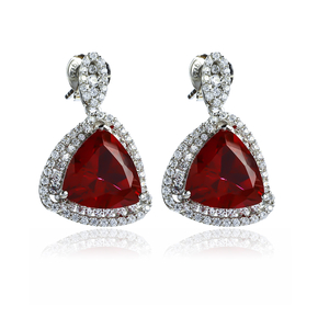 Ruby Stone Earrings In Sterling Silver