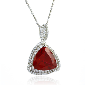Ruby Stone Pendant In Sterling Silver