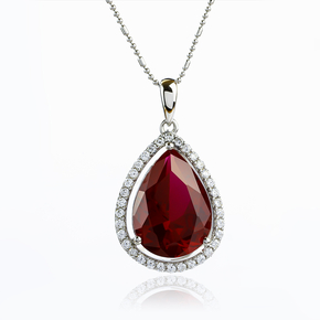 Red Ruby Silver Pendant