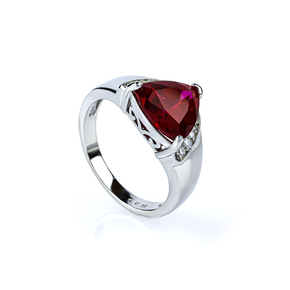 Sterling Silver Trillion Cut Red Ruby Ring