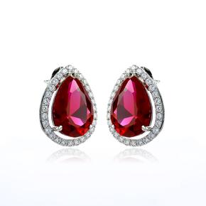 Red Ruby Silver Earrings