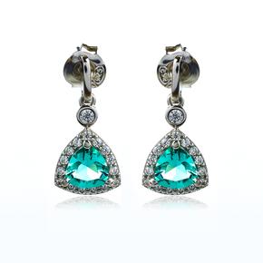 Sterling Silver Paraiba Trillion Cut Earrings
