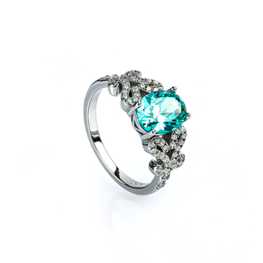 Sterling Silver Paraiba Ring With Sterling Silver