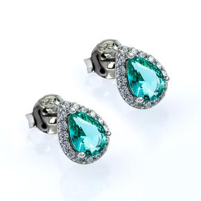 Sterling Silver Paraiba Pear Cut Earrings