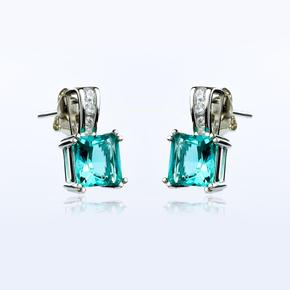 Silver Princess Cut Earrings with Paraiba