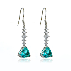 Silver Drop Earrings Trillion Cut Paraiba