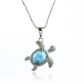 Genuine Larimar Stone Sea Turtle Silver Pendant