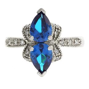 Blue Topaz Silver Ring Pear Cut