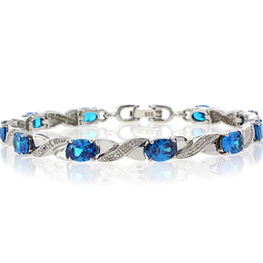 Blue Topaz Silver Bracelet Oval Brilliant Cut Special Gift