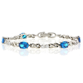 Blue Topaz Silver Bracelet Oval Brilliant Cut Platinum Quality