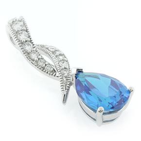 Blue Topaz Silver Pendant Pear Brilliant Cut