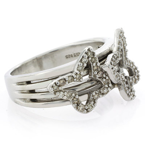 Genuine Diamond Butterfly Silver Ring