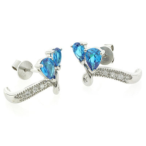 Blue Topaz Silver Earrings Pear Brilliant Cut