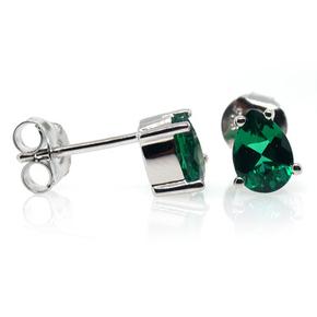 Silver Emerald Earrings