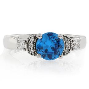 Round Cut Blue Topaz Silver Ring