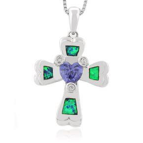 Australian Opal Cross Pendant In Sterling Silver