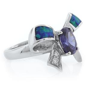 Bow Shape Australian Opal Ring with Tanzanite