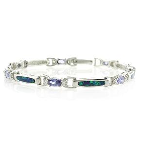 Sterling Silver Opal & Tanzanite Bracelet