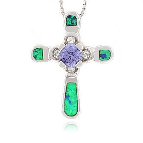 Exquisite Australian Opal Cross Pendant with Tanzanite