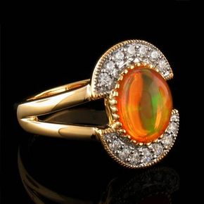 14K Gold Plated Quality Fire Opal Silver Ring