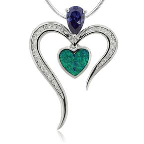 Heart Shape Tanzanite and Opal Silver Pendant