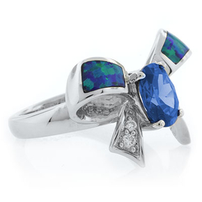 Australian Opal with Blue Topaz Bow Ring