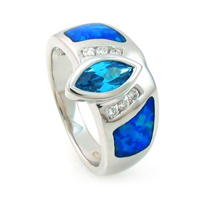 Australian Opal Ring with Marquise Cut Blue Topaz